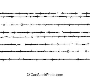 barbed wire - Black silhouette of the barbed wire, vector