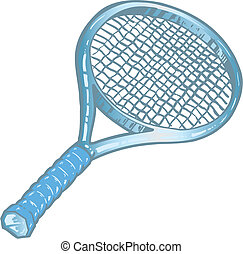 Silver tennis racket illustration
