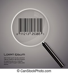 Magnifying glass and barcode vector illustration