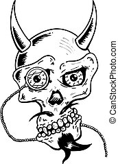 Devil skull with horns and glass eye piece vector illustration