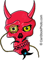 Devil skull with horns and glass eye piece vector...