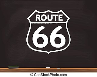 Route 66 Sign Chalkboard Illustration