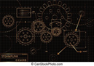 Gold Steampunk Gears - Gold and black gears steampunk...