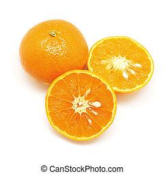 sweet orange isolated on white background - closeup of sweet...
