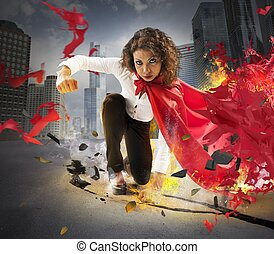 Determined hero businesswoman - Hero businesswoman gives a...