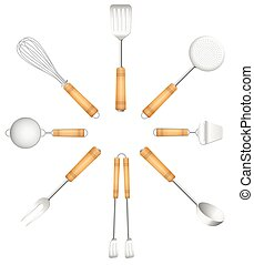 Kitchen Tools Cutlery Circle Sun - Kitchen tools in a circle...