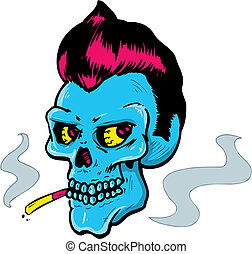 Rock and Roll style skull vector illustration