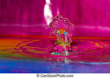 Colorful Water Drop Background - Macro photography of...