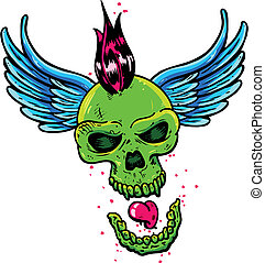 Punk tattoo style skull with wings vector illustration....