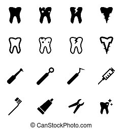 Vector black dental icon set on white background