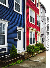 Colorful houses in St Johns - Colorful houses on hill in St...