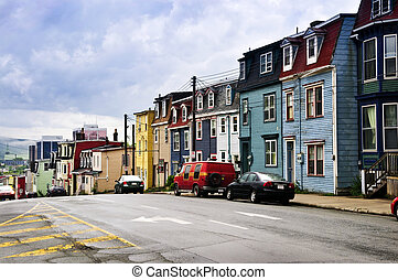 Colorful houses in St. John\'s - Street with colorful houses...