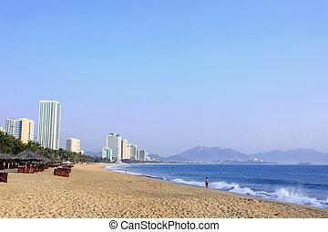 Nha Trang City Beach at morning, Vietnam - Nha Trang beach,...