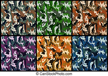 set of exotic color camouflage as background or pattern