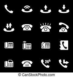 Vector white telephone icon set