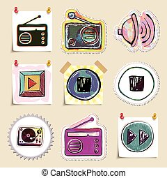 Hand drawn music emblems set. Isolated