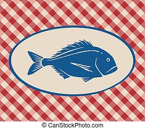 Vintage illustration of sea bream over Italian tablecloth...