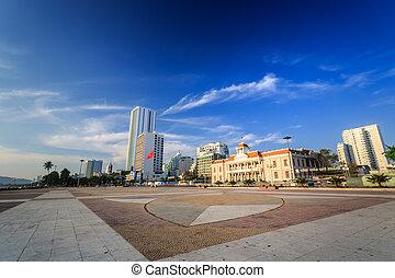 Main Town Square at morning In Nha Trang, Vietnam - The Main...