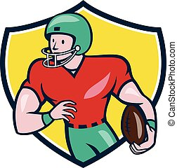 American Football Receiver Running Shield Cartoon -...