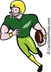 American Football Receiver Running Isolated Cartoon -...