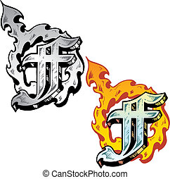 Tattoo style letter F with relevant symbols incorporated