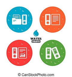 Accounting icons. Document storage in folders. - Water drops...