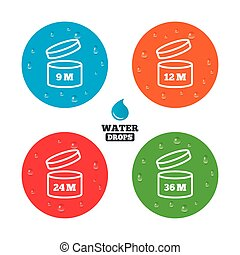 After opening use icons. Expiration date product - Water...