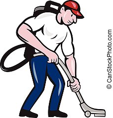 Commercial Cleaner Janitor Vacuum Cartoon