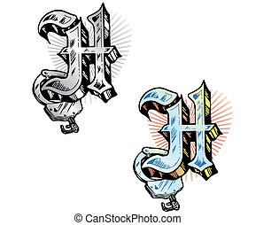Tattoo style letter H with relevant symbols incorporated