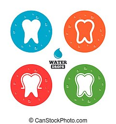 Tooth enamel protection icons Dental care signs - Water...