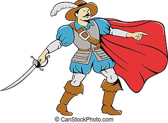 Musketeer Cape with Saber Cartoon - Cartoon style...