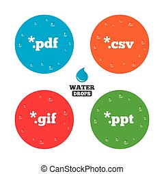 Document signs File extensions symbols - Water drops on...