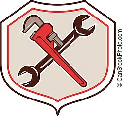 Pipe Wrench Spanner Crossed Shield Cartoon - Cartoon style...
