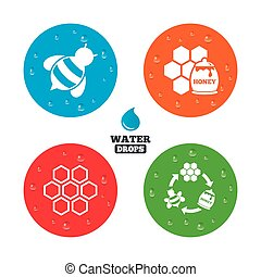 Honey icon Honeycomb cells with bees symbol - Water drops on...