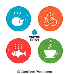 Hot food icons Grill chicken and fish symbols - Water drops...