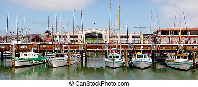 Panoramic view of Fisherman Wharf San Francisco - Panoramic...