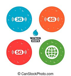 Mobile telecommunications icons 3G, 4G and 5G - Water drops...