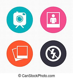 Photo camera icon No flash light sign - Circle buttons...