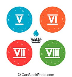 Roman numeral icons. Number five, six, seven. - Water drops...
