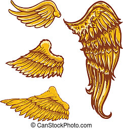 Tattoo style vector wings illustrations collection See my...