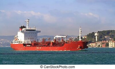 Chemical tanker ship - Oil chemical tanker cruising along...
