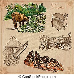 Corsica, Travel - Hand drawn vector pack - Travel, CORSICA...