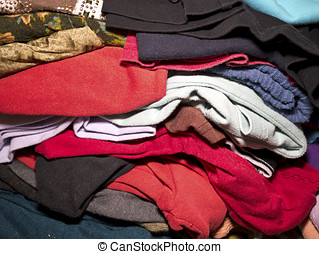 A heap of clothes for sale in market