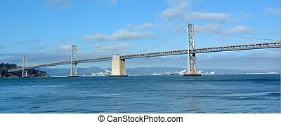 Panoramic view of Oakland Bay Bridge in San Francisco,...