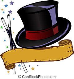 Magic theme top hat and banner vector illustration all parts...