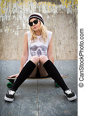 Pretty Blond Skater Girl