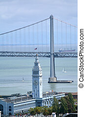 Aerial view of Oakland Bay Bridge and ferry house in San...