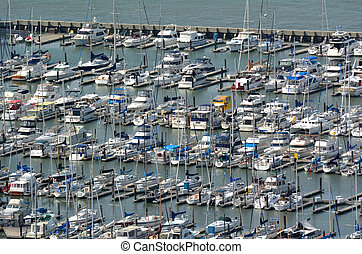 Aerial view of Pier 39 Marina in Fishermans Wharf San...