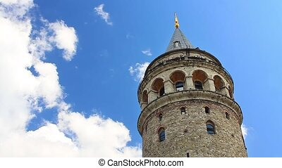 Galata Tower against fast clouds