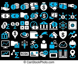 Business Icon Set. These flat bicolor icons use blue and...